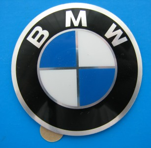 BMW Wheel Badge 45mm Curved Self Adhesive Aluminium